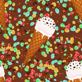 Fond sans couture de modèle de cornets de crème glacée avec les sucreries et le chocolat Images stock
