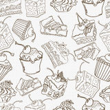 Fond sans couture de modèle de gâteau de griffonnage Images stock