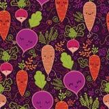 Fond sans couture de modèle de légumes à racine heureux Photo stock