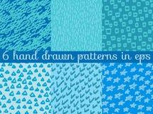 Fond sans couture de modèle de papier peint de vecteur Tiré par la main Image libre de droits