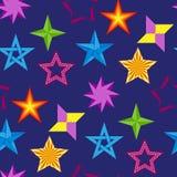 Fond sans couture de modèle de style de forme de silhouette d'étoile d'icônes de collection d'illustration brillante différente d Photos stock