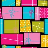 Fond sans couture de modèle de vacances de boîte-cadeau Images stock