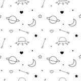 Fond sans couture de modèle de vecteur de griffonnage noir et blanc avec la lune, la planète, les étoiles, le coeur, les flèches  Photos stock