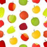 Fond sans couture de modèle de différentes variétés de pommes Vecteur illustration de vecteur