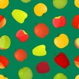 Fond sans couture de modèle de différentes variétés de pommes Vecteur illustration stock