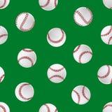 Fond sans couture de modèle du base-ball 3d de boule détaillée réaliste de cuir Vecteur Images libres de droits