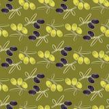 Fond sans couture de modèle olive avec les feuilles olives Image stock