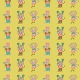 Fond sans couture de modèle de personnages de dessin animé verticaux mignons jaunes d'anthromorph de vecteur illustration de vecteur