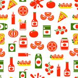 Fond sans couture de modèle de produits de tomate de bande dessinée Vecteur Photo stock