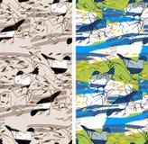 Fond sans couture de modèle Silhouettes tirées par la main de pigeons Image libre de droits