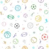 Fond sans couture de modèle de thème de sport ; le football ; base-ball ; vol. illustration stock