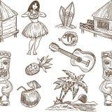 Fond sans couture de modèle de vecteur de croquis d'Hawaï Illustration Stock