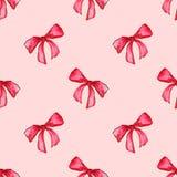 Fond sans couture de modèle d'arc d'aquarelle de bande de cadeau rose rouge de ruban Photos libres de droits