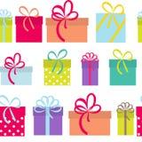 Fond sans couture de modèle de vacances de boîte-cadeau Image stock
