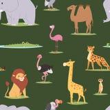 Fond sans couture de modèle de voyage graphique extérieur d'animaux de l'Afrique Photographie stock