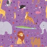 Fond sans couture de modèle de voyage graphique extérieur d'animaux de l'Afrique Image libre de droits