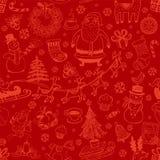 Fond sans couture de Noël avec des symboles de griffonnage Photo libre de droits