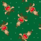 Fond sans couture de Noël de vecteur : les cerfs communs de Santa sur le backgroung avec des étoiles illustration de vecteur