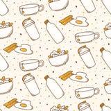 Fond sans couture de nourriture de petit d?jeuner dans le vecteur de style de kawaii illustration stock