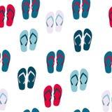 Fond sans couture de plage avec Flip Flops Vector Image stock