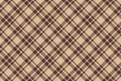 Fond sans couture de plaid diagonal brun beige de contrôle Image libre de droits