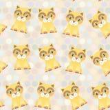 Fond sans couture de point de polka, modèle chat rouge drôle sur le fond de point Vecteur illustration stock