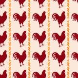 Fond sans couture de poulet Modèle de vecteur de coq Image libre de droits