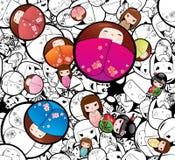 Fond sans couture de poupées de Kokeshi Babushka de vecteur illustration stock