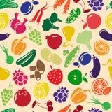 Fond sans couture de vecteur avec des fruits et légumes Photographie stock