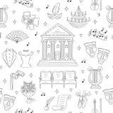 Fond sans couture de vecteur avec des symboles de théâtre Photo libre de droits