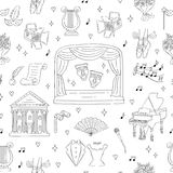 Fond sans couture de vecteur avec des symboles de théâtre Photographie stock