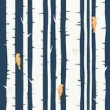Fond sans couture de vecteur avec la forêt de bouleau Photo libre de droits