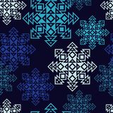 Fond sans couture de vecteur avec les flocons de neige décoratifs Modèle d'hiver Photo stock
