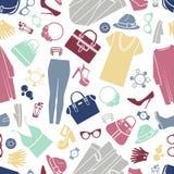 Fond sans couture de vecteur d'icônes d'achats de mode illustration de vecteur