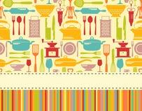 Fond sans couture de vecteur de cuisine avec l'endroit pour le texte Photographie stock libre de droits