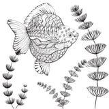 Fond sans couture de vecteur - poisson rouge Image libre de droits