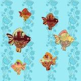 Fond sans couture de vecteur - poisson rouge Image stock
