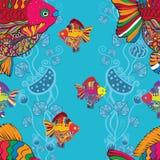 Fond sans couture de vecteur - poisson rouge Photographie stock libre de droits