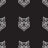 Fond sans couture de vecteur stylisé avec des loups Photos libres de droits