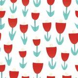 Fond sans couture de vecteur de tulipe d'illustration rouge de fleurs Résumé floral pour la conception extérieure Rétro modèle de illustration de vecteur