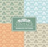 Fond sans couture de vintage, antiquité, ornement argenté de victorian, modèles ornementaux de luxe floraux Image stock