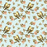 Fond sans couture de vintage avec de rétros oiseaux dans le jardin Image stock