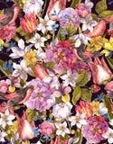 Fond sans couture de vintage floral avec l'oiseau Images stock