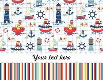 Fond sans couture de voyage de bébé coloré Carte de voeux ou invitation de joyeux anniversaire Photos libres de droits