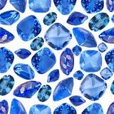 Fond sans couture des gemmes bleues de saphir Photo stock