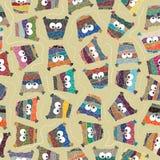 Fond sans couture des hiboux colorés illustration stock