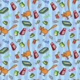 Fond sans couture des produits pour des chats Illustration de vecteur Image stock