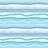 Fond sans couture des vagues abstraites courbées de bleu Image libre de droits