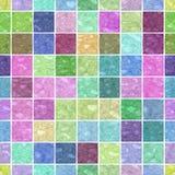 Fond sans couture extérieur de modèle de mosaïque de plancher avec le coulis blanc - couleur en pastel mignonne - forme carrée illustration libre de droits