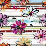 Fond sans couture floral de modèle, avec des rayures, courses de peinture illustration libre de droits